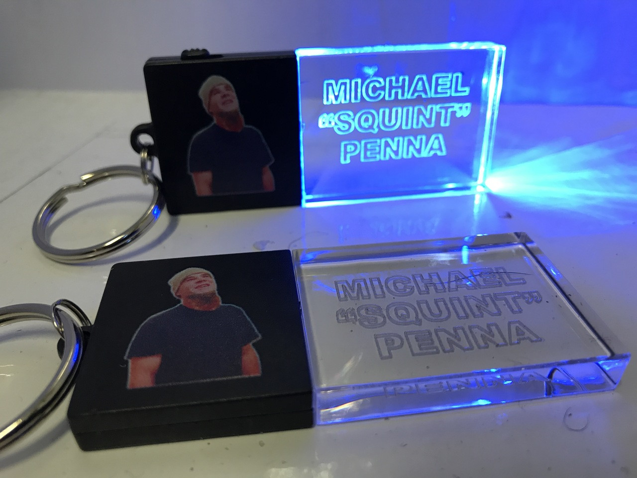 LED,Keychain,Key,chain,LED keychain, custom, BEAM, dual, print,engraved, logo,text, laser engraved,personalized,promo,merch,fundraiser,nightclub,fund raiser,Rest in Peace, Squint,Michael Pena