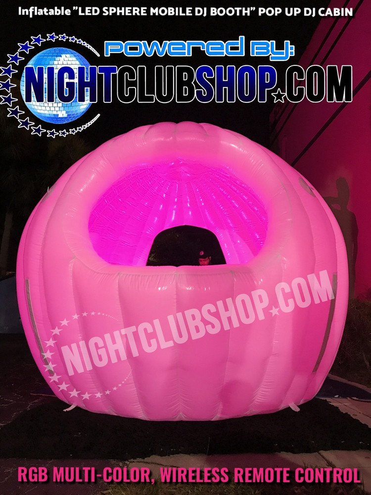 Inflatable-LED-Glow-Sphere-mobile-Dj-Booth-Cabin-10 feet-pop up-blow up-show-stage-mobile dj-portable