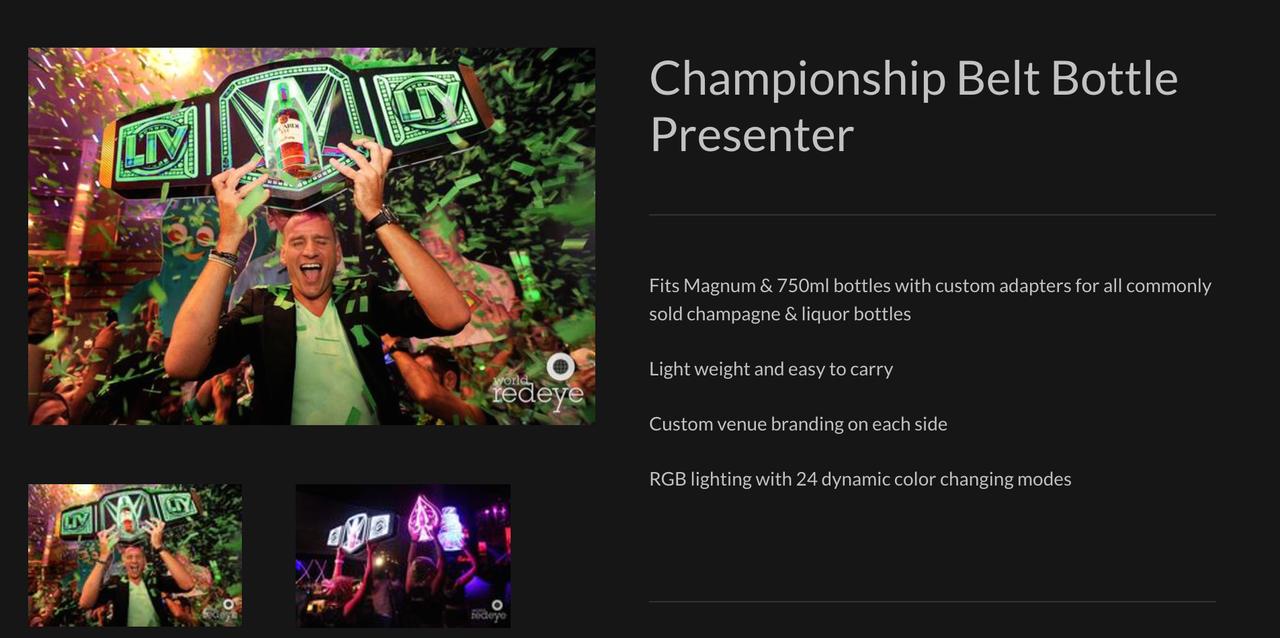 Custom_VIP_bottle_war_Champagne_Liquor_Champion_championship_Belt_title_Nightclub_branded_Logo_bottle Service_Presenter_carrier_holder_tray_Nightclubshop