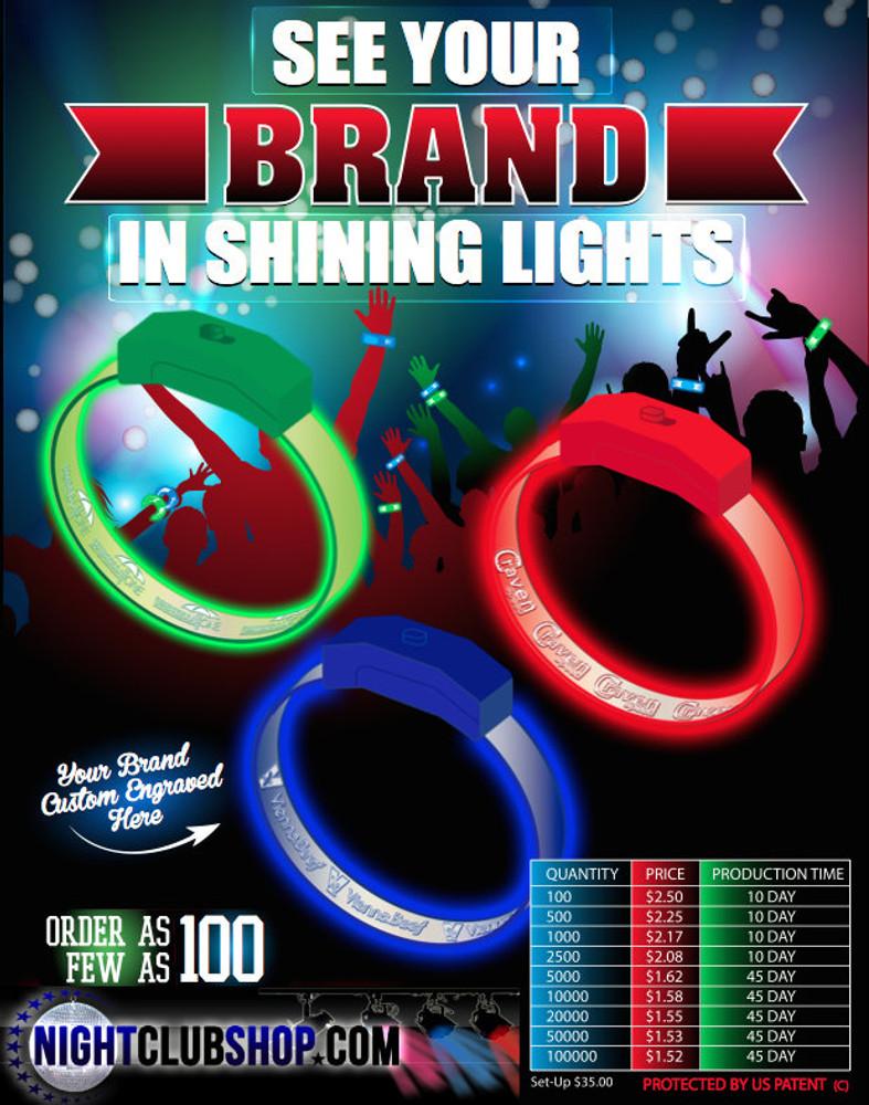 LED, wristband, wholesale, pricing, bulk, LED Bands, Band, personalized, custom, brandingLED, bride, groom, Light up, Light, Iluminated, Glow, Wristband, wrist Band, Bracelet, Band, Personalized, Custom, LED Wristband, VIP, Logo, Name, Art