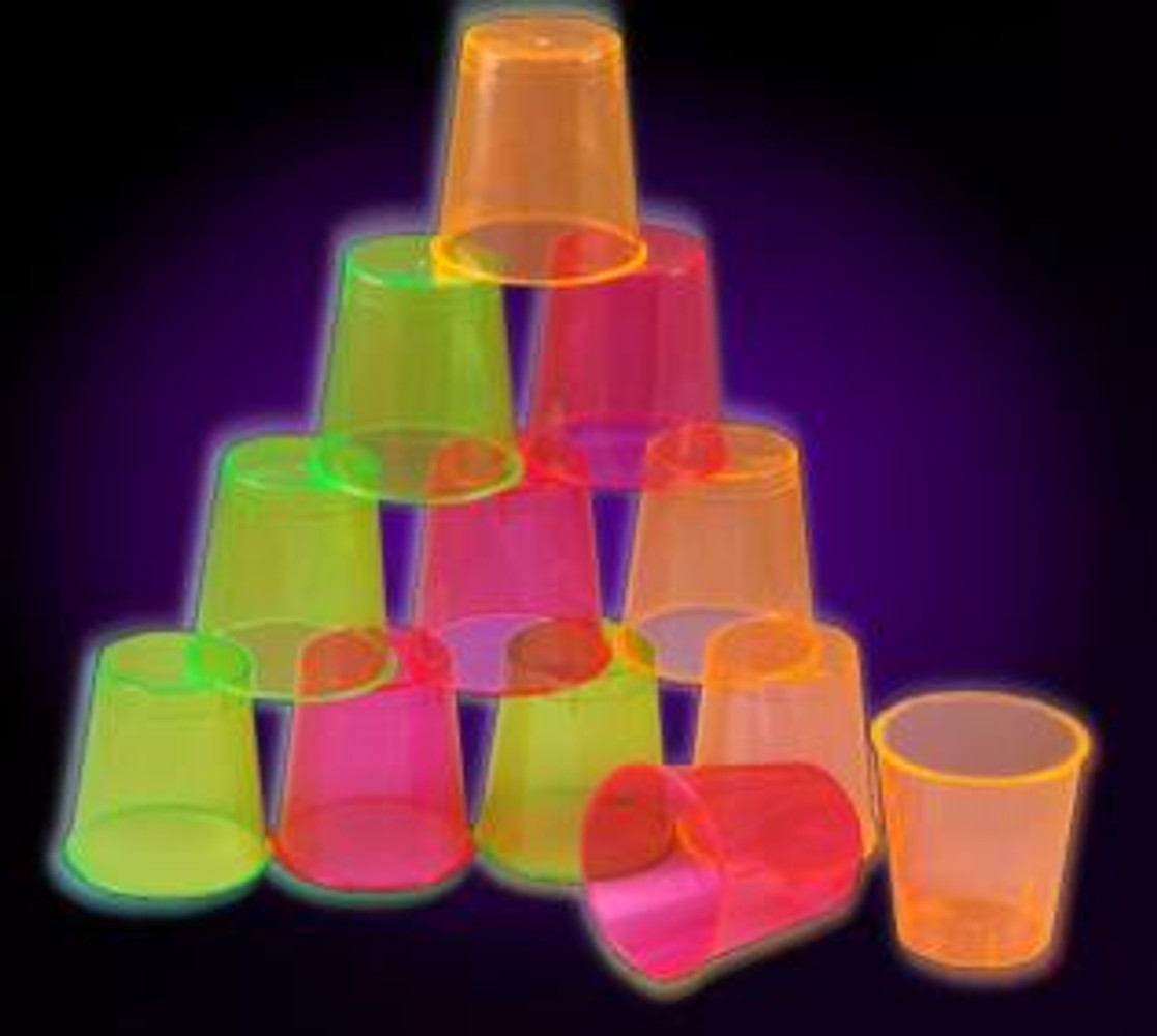 NEON SHOT GLASSES 1 OZ, PARTIES, NEON, GLOW, UV REACTIVE, SHOT GLASS, 1 OZ