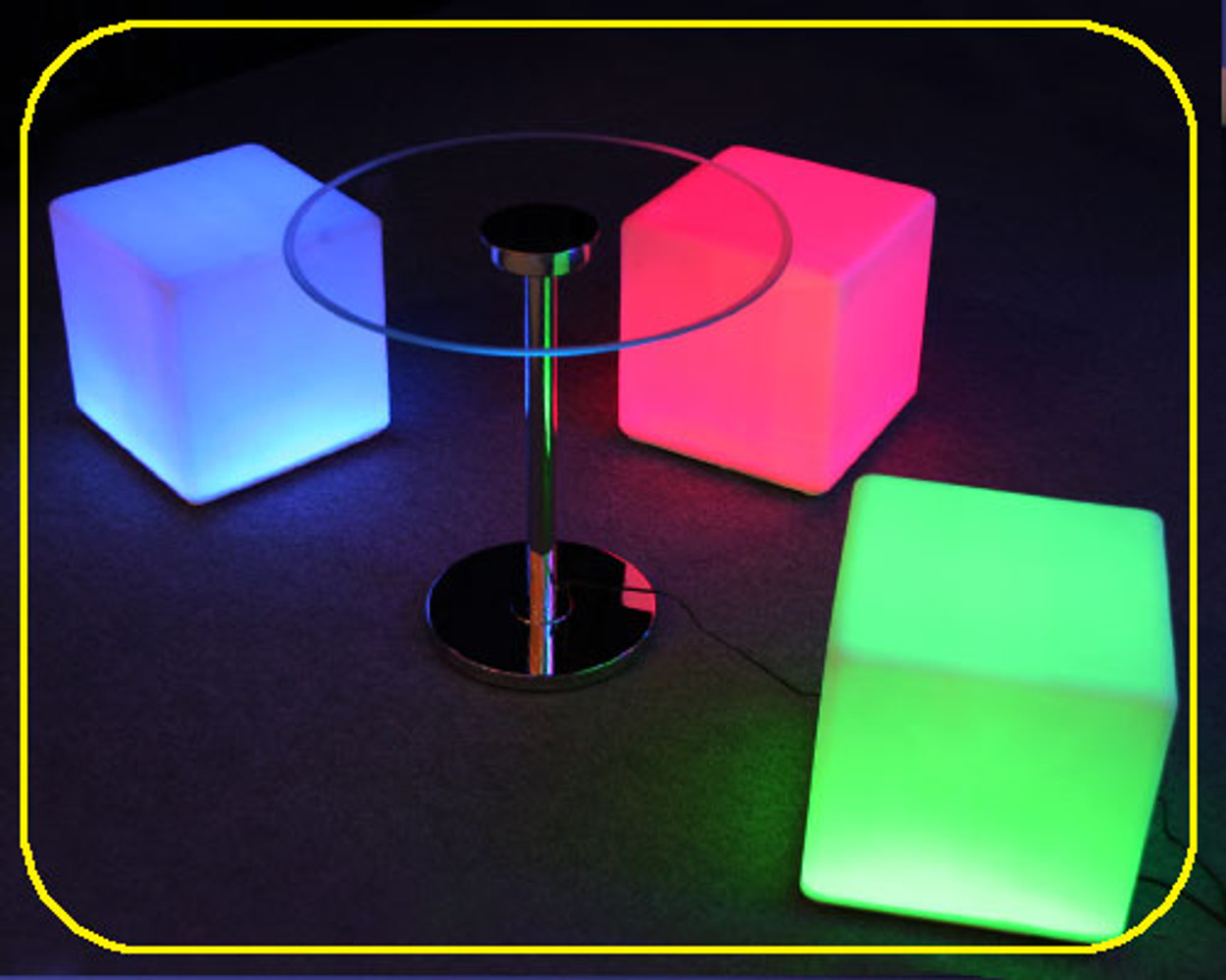 Color changing, Glow Furniture, glow Cube, Glow chair, glow table,