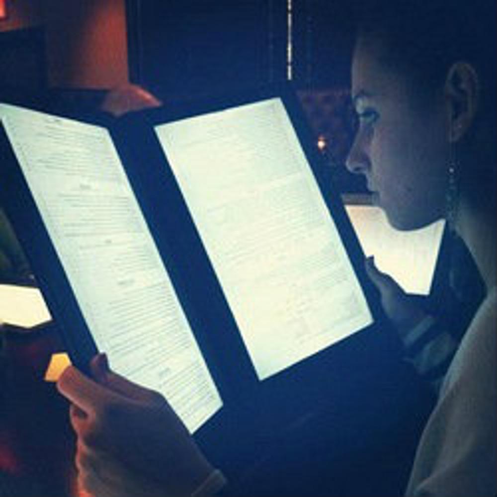 LED BACK LIT MENUS, LED MENUS, GLOW MENU,  back lit menu covers, check presenters, table stands, back lit menus, dine a light, glow in the dark, glowing menus, grandstand, led menus, light up menus, lighted menu, lit check presenters, lit menus, irridescent menu, illuminated menu, illuminati menu, glowing menu, uv menu, led design menu, designer menu, customized restaurant, custom, personalized menu