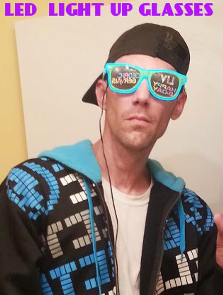 DJ GLASSES, LIT Up, Lighted, Flourescent, Illuminated, Glow, Foam Stick Glasses, Wedding Glasses, Nightclub Glasses, Party Glasses, Party Rock, Partyrock
