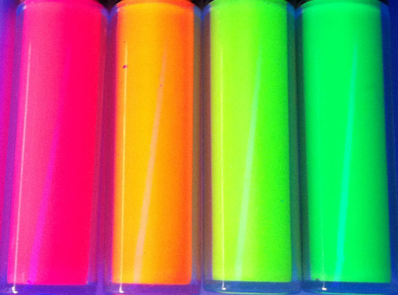 UV REACTIVE PAINT COLORS, GLOW PAINT, Yellow, Orange, Green, and Pink.