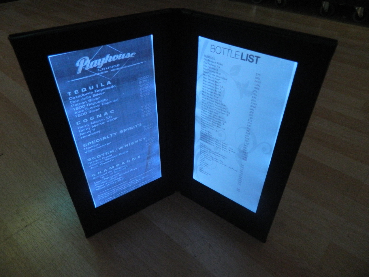 Led Back Lit Menus Led Menus Glow Menu Back Lit Menu Covers
