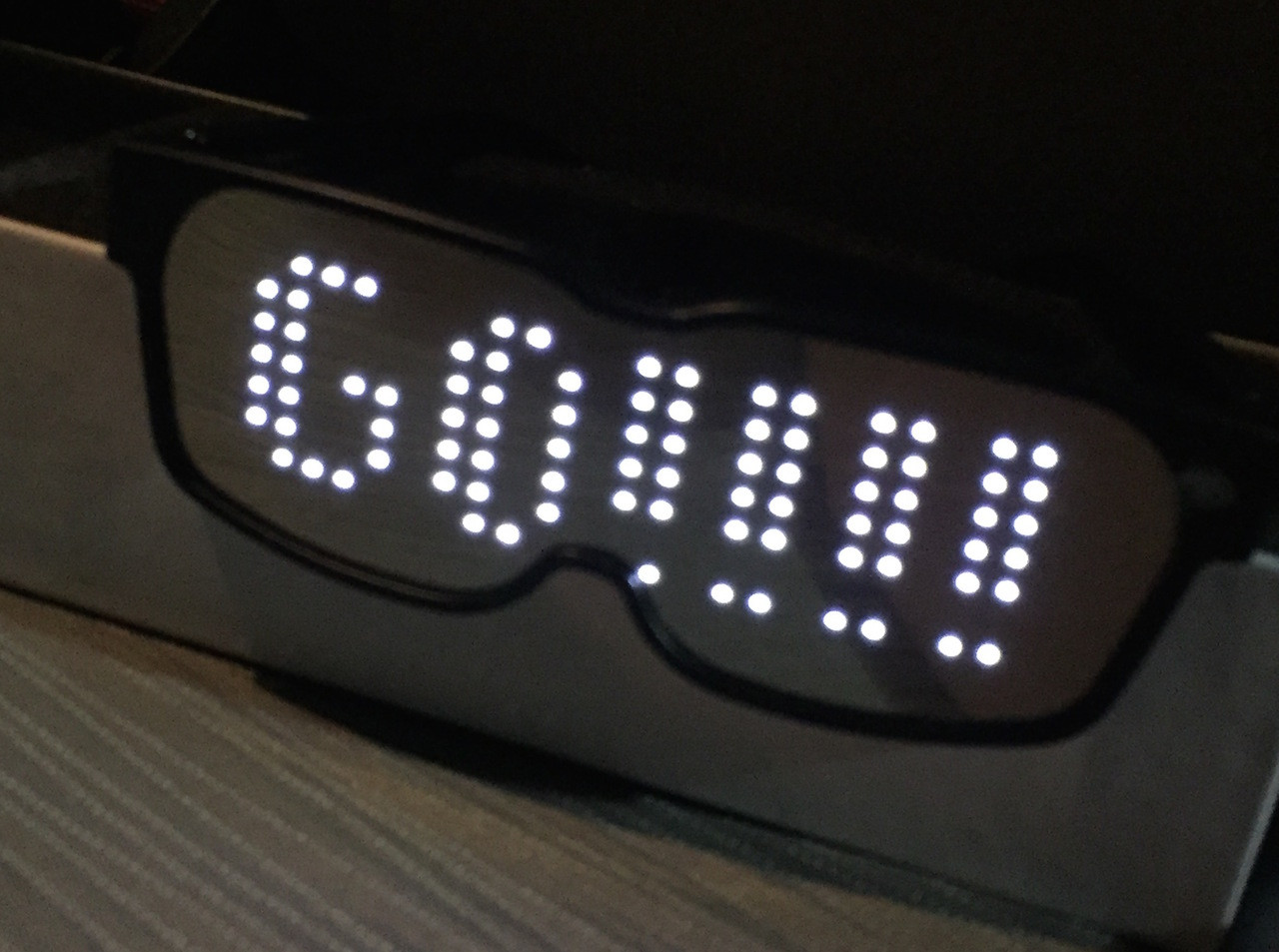 Smart LED Video Billboard Glasses with an App Control Interface that lets you design your own text, Moving Text, Animations, Designs, Built in Sample Banks, On Board and App Memory Banks, Sound Reactive,Rechargeable, Bluetooth control! Super Awesome for Shows and DJ's, Sports Events, and plain old fun! http://www.nightclubshop.com/chemis-bluetooth-led-glasses-smart-led-lcd-video-billboard-shades/