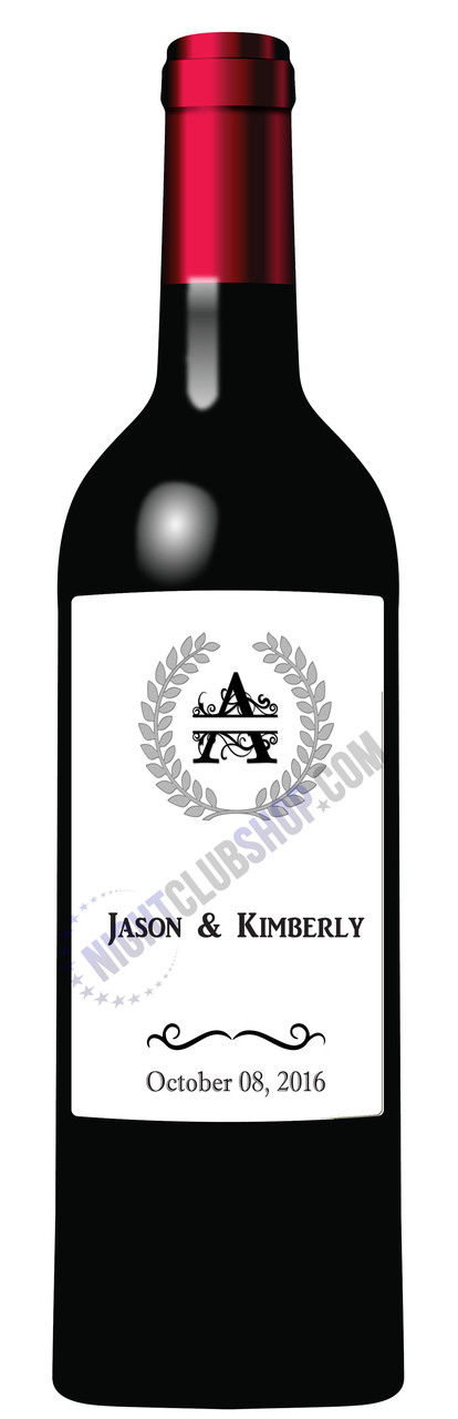 CUSTOM WINE LABEL MONOGRAM DECOR BIRTHDAY