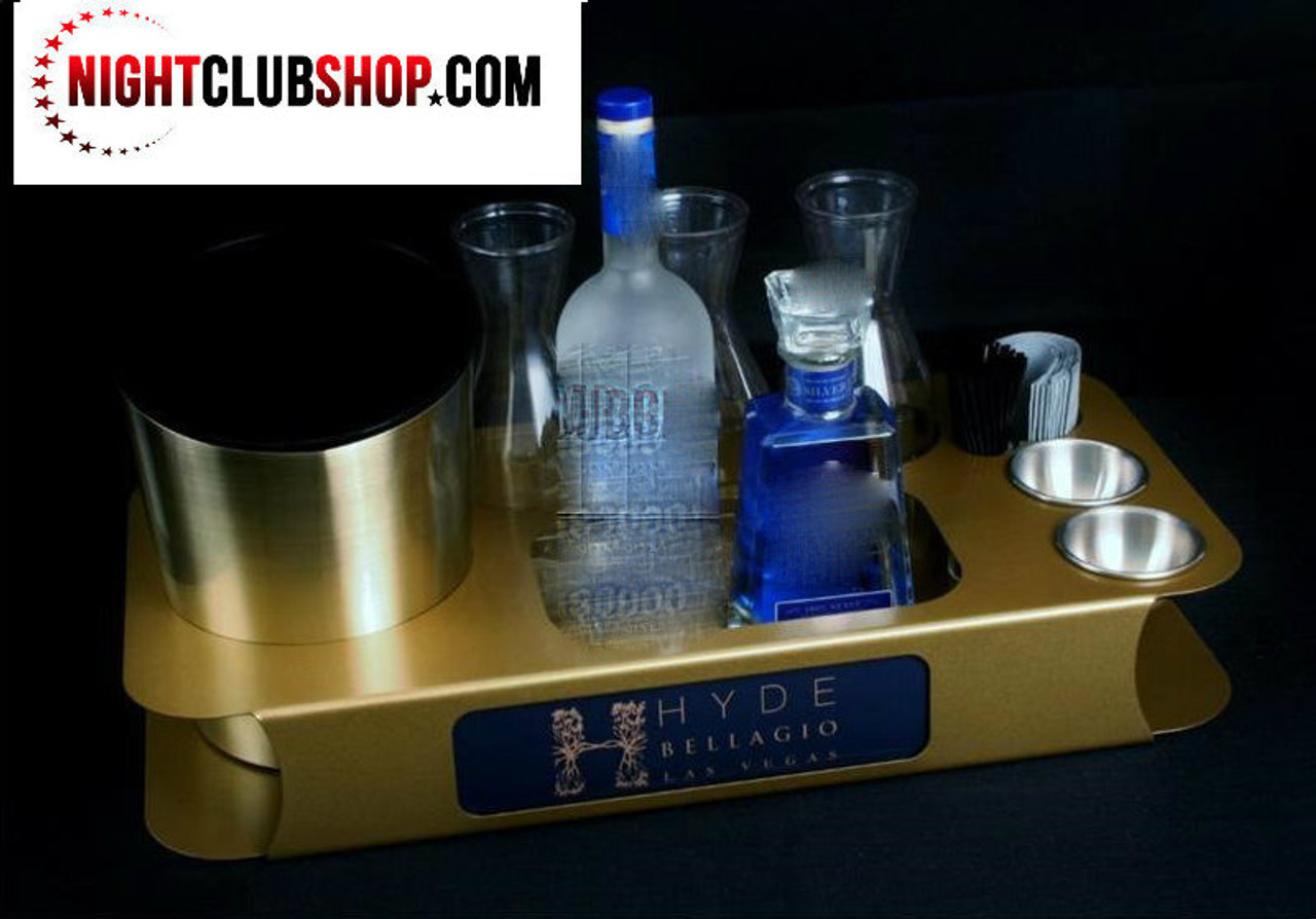gold, name, changer, bottle service, tray, vip, custom, nightclub, club, bar, delivery, caddie, champagne, bottle