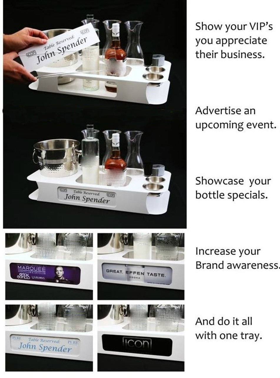 name, changer, bottle service, tray, vip, custom, nightclub, club, bar, delivery, caddie, champagne, bottle, presentation, directions, uses, pamphlet, manual, flyer