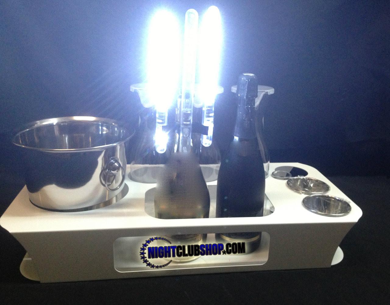 silver, logo, led, nitesparx, name, changer, bottle service, tray, vip, custom, nightclub, club, bar, delivery, caddie, champagne, bottle, presentation, high quality, scene