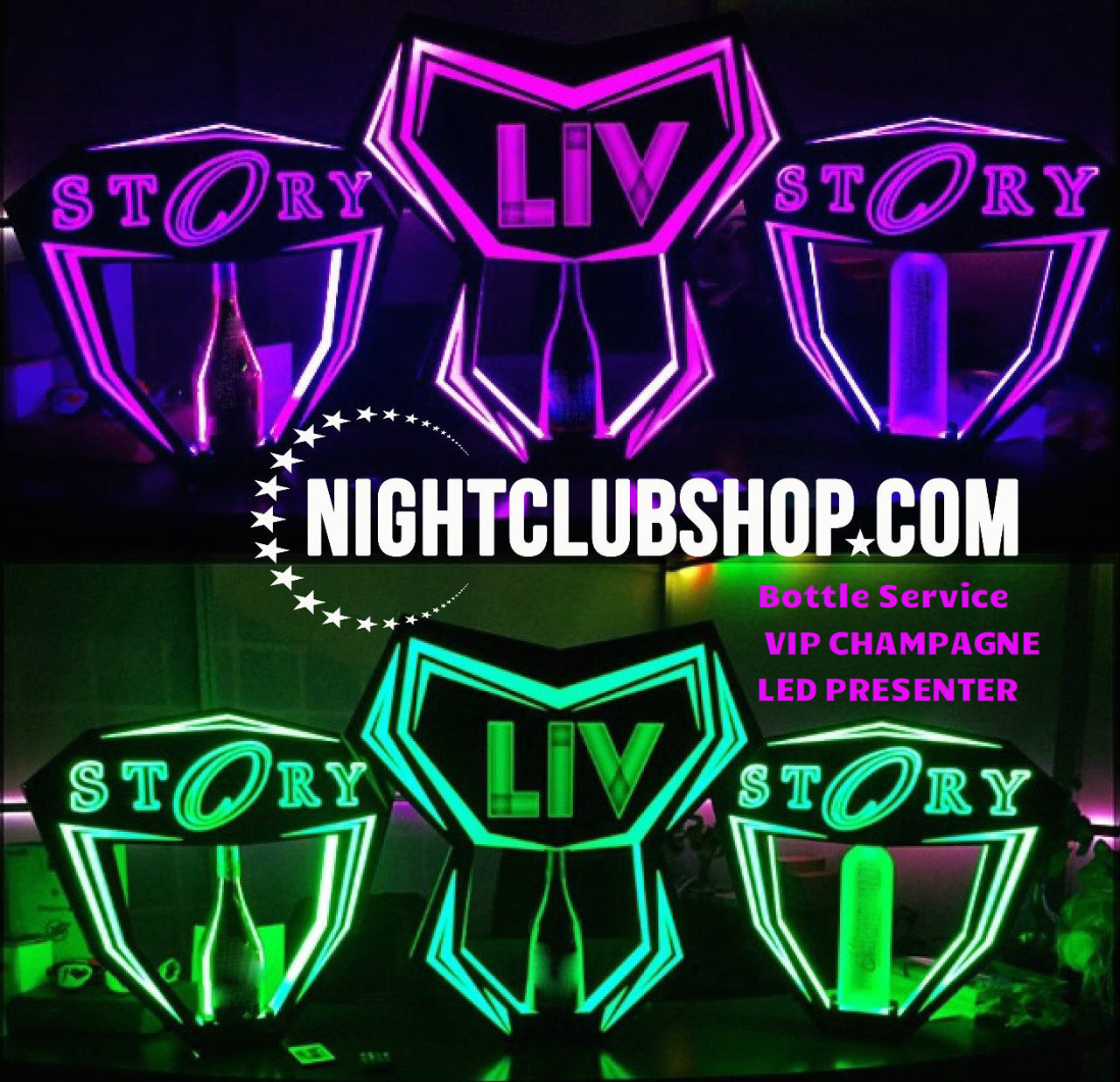 Miami,Champagne, 750 ml., Bottle,Service,Delivery,Hypemakerz,presentation, presenter,LED,LIV,Tray, Hype,LIV tray