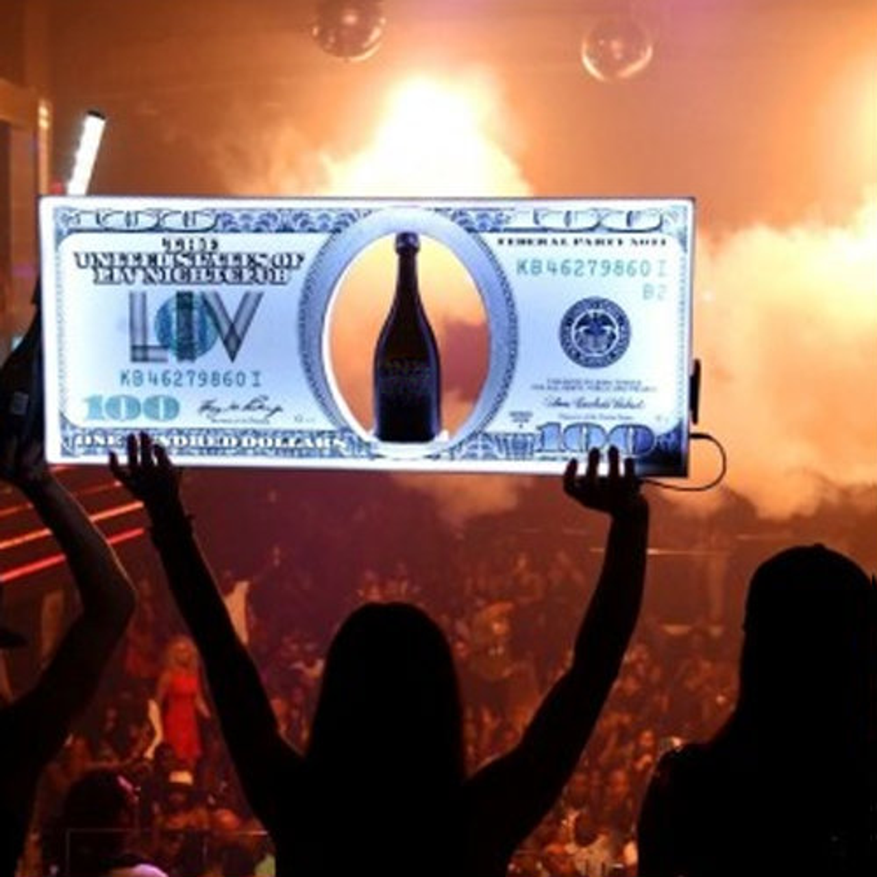 LED, Benjamin,Dollar, bill, Champagne,Bottle,Service,Delivery, Carrier, Presenter,Tray,Caddie,caddy ,club, miami, Nightlub, VIP, custom, Light up,
