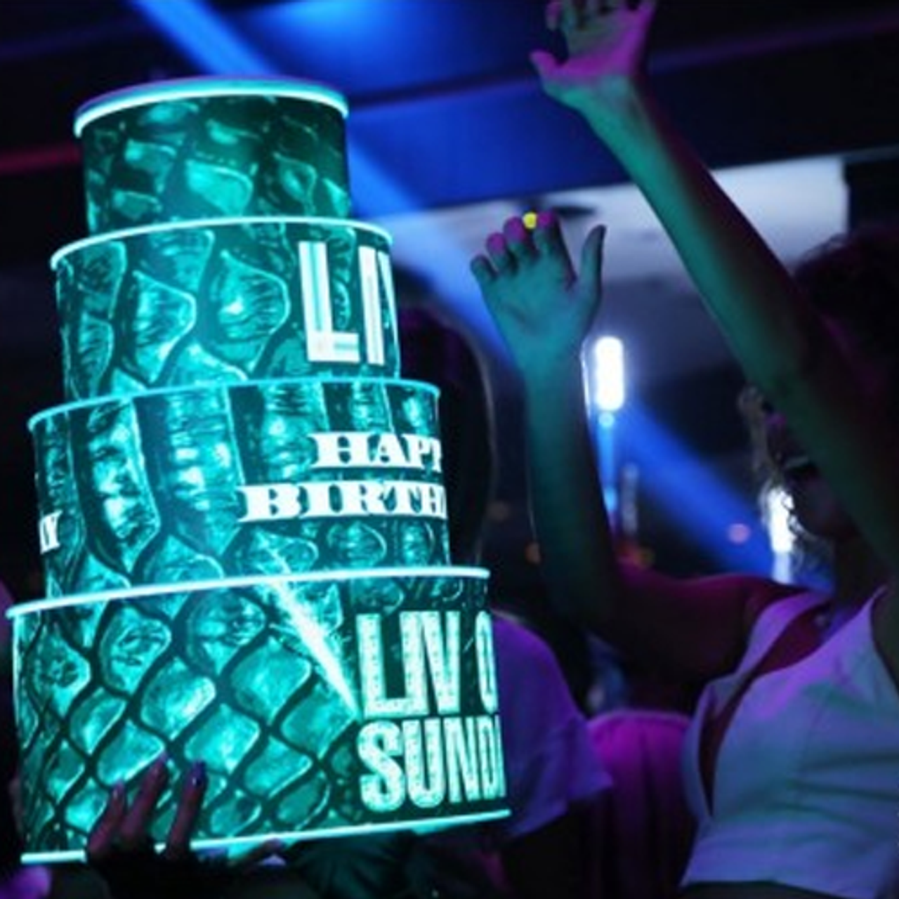 LED, Birthday, Cake, LEDCake, LED Cake, Light up, illuminated, custom, Venue,Logo,LIV,hypemaker,Miami,Beach,South Beach