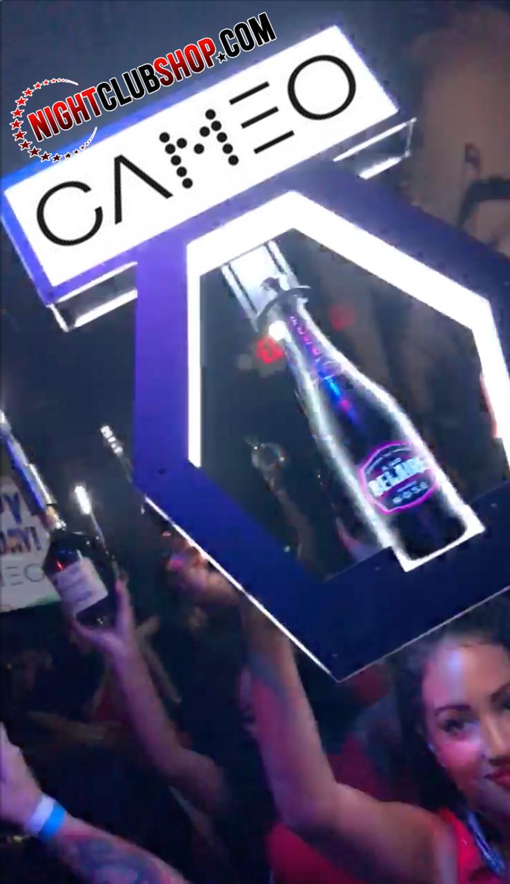 cameo_Bottle_Glorifier_Bottle Top_sign_interchangeable_Banner_window_Universal_Champagne_bottle_Liquor_Presenter_carrier