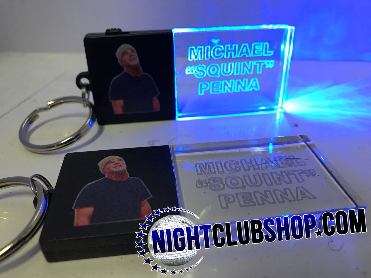 Beam,LED,Keychain,Key,chain,LED keychain, custom, BEAM, dual, print,engraved, logo,text, laser engraved,personalized,promo,merch,fundraiser,nightclub,fund raiser,RIP Squint