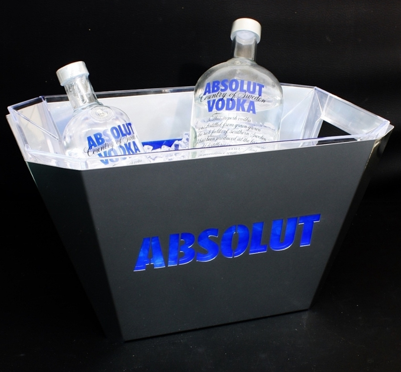 Absolut, Ice Bucket, Steel, cut, logo, LED, Light up, LED ICE BUCKET, Tub, Branded, POS, Nightclubshop