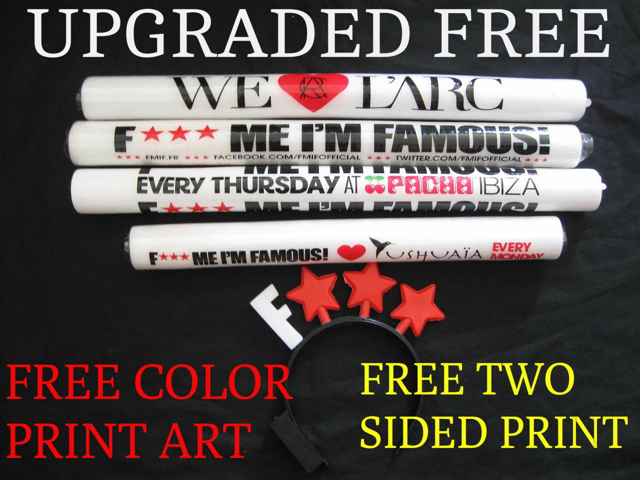 """18"""" CUSTOMIZED FOAM STICKS - 3FUNCTION L.E.D. (FREE COLOR PRINT, FREE 2 SIDED)"""