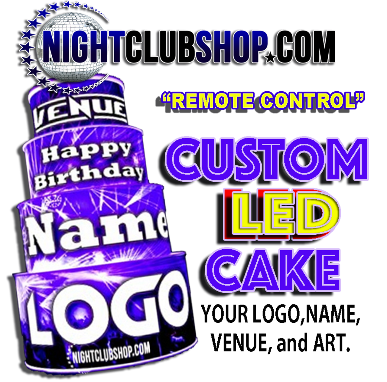 Remote,control,Custom,LED, Birth day, Birthday, Cake, Glow cake, Neon Cake, Light up Cake, LED Cake