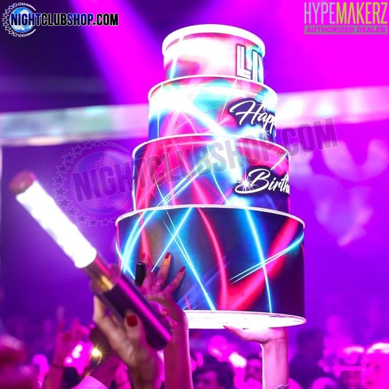 LED, Cake, Birthday, Happy, Celebration, Bottle, Presenter, Custom, Piece, Nightclub, Casino, Bar, Restaurant