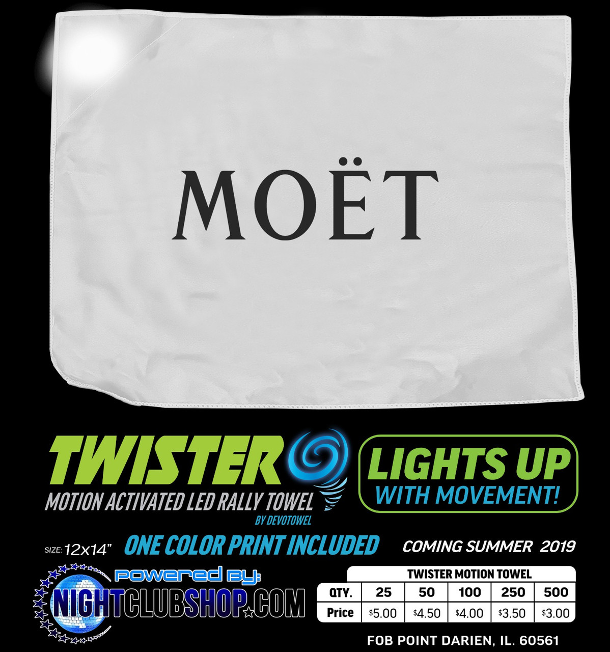 Motion, Activated, LED, Bottle, Service, Promo, Towel, rally, vip, led