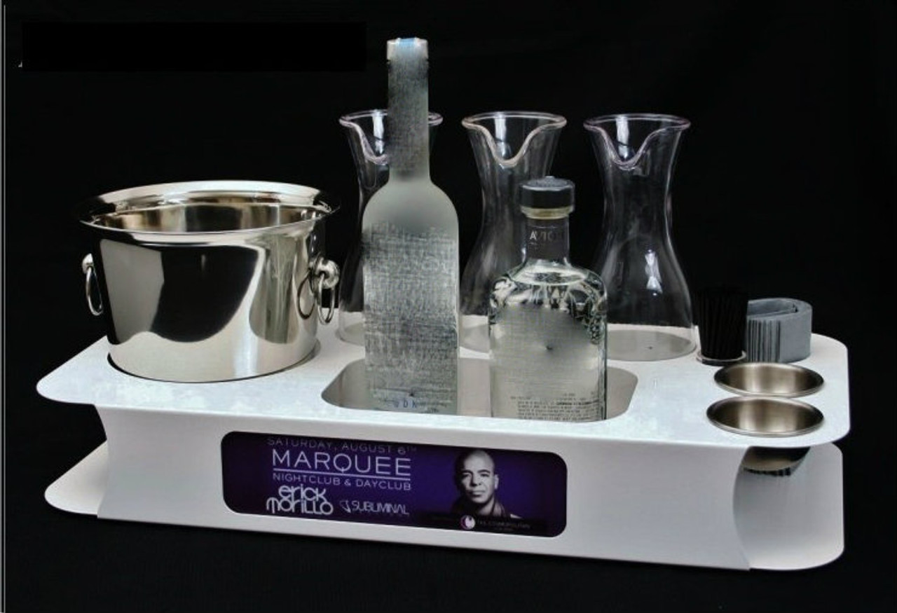 white, logo, name, changer, bottle service, tray, vip, custom, nightclub, club, bar, delivery, caddie, champagne, bottle,