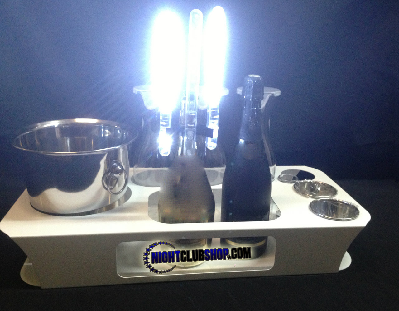 silver, logo, led, nitesparx, name, changer, bottle service, tray, vip, custom, nightclub, club, bar, delivery, caddie, champagne, bottle, presentation, high quality, scene