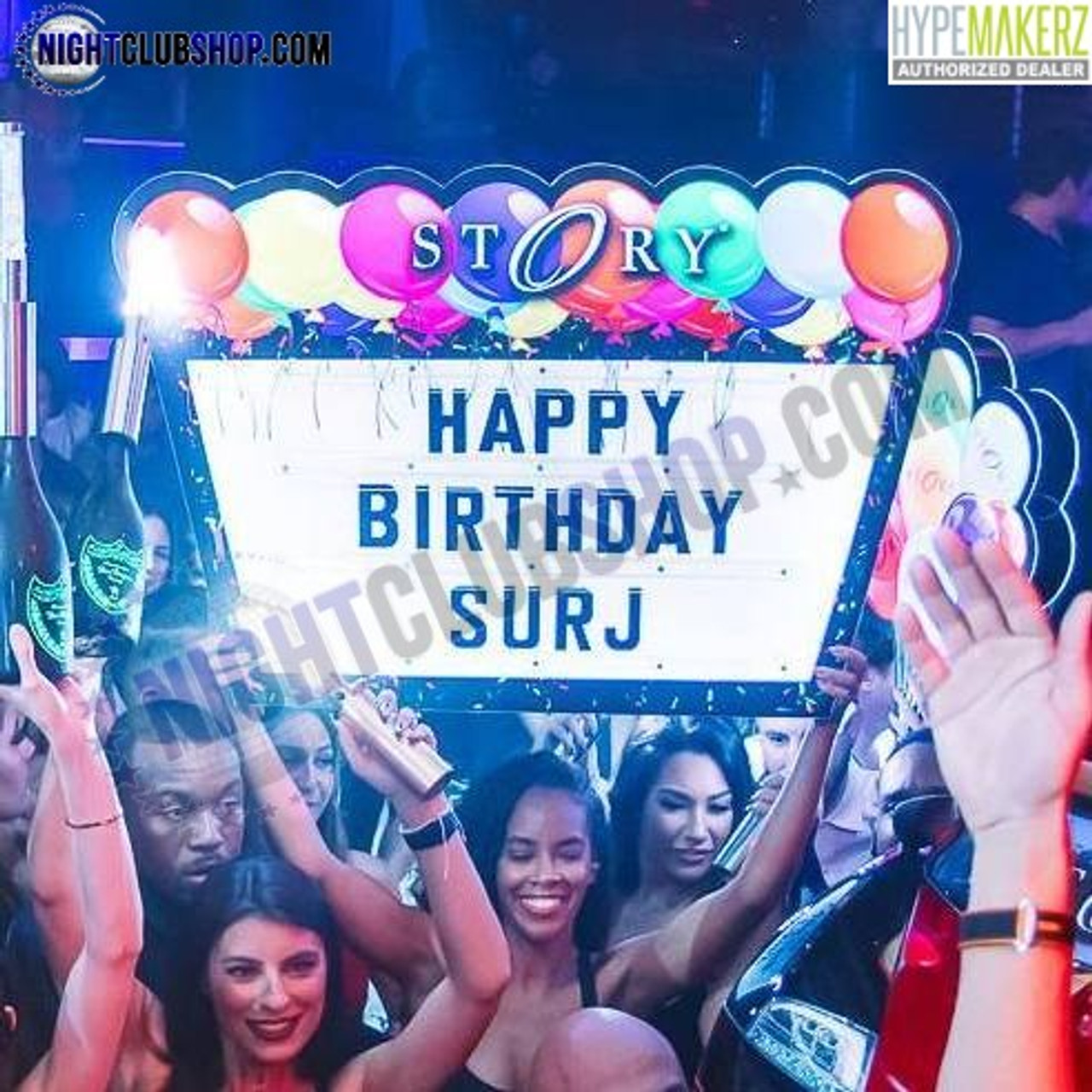 LED, Balloon, letter, board, marquee, Bottle service, VIP, Interchangeable, Custom, logo, brand, venue, nightclub, b-day, birthday, happy b-day, balloons