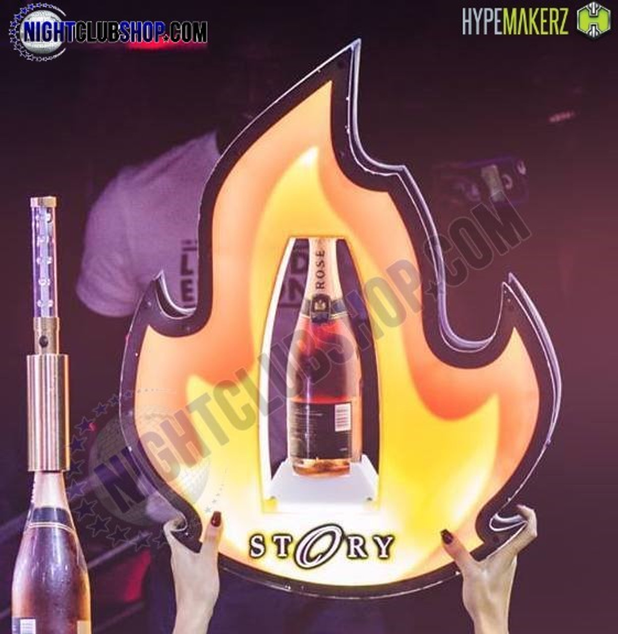 LED, Fire, Flame, Bottle, Presenter, Strobe, Baton, Liquor, Holder, VIP, Huge, Enormous, Gigantic