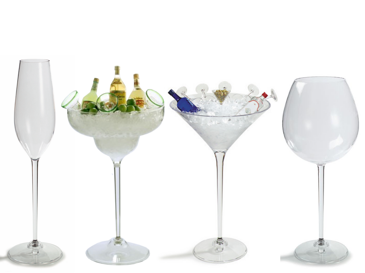 Variety, Jumbo, Drinks, Champagne, Flute, Margarita, Martini, Red, Wine, Cups