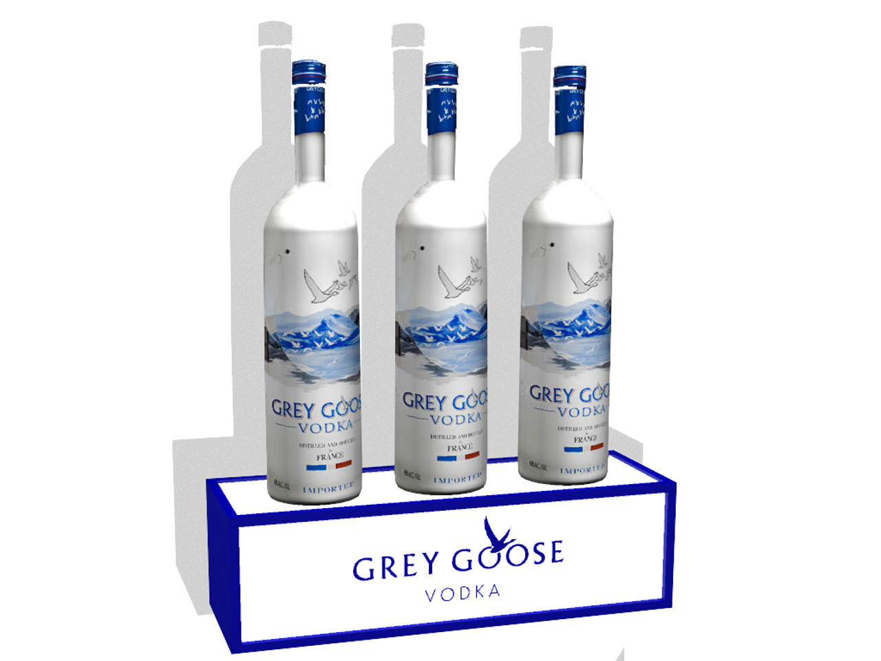 Grey Goose, Belvedere, Ketel One, Rum,Vodka, Tequila, Stand, Point of sale, POS, Shelf, Display, single, three, triple, bottle, Bottle display, custom, logo, customizable, personalize