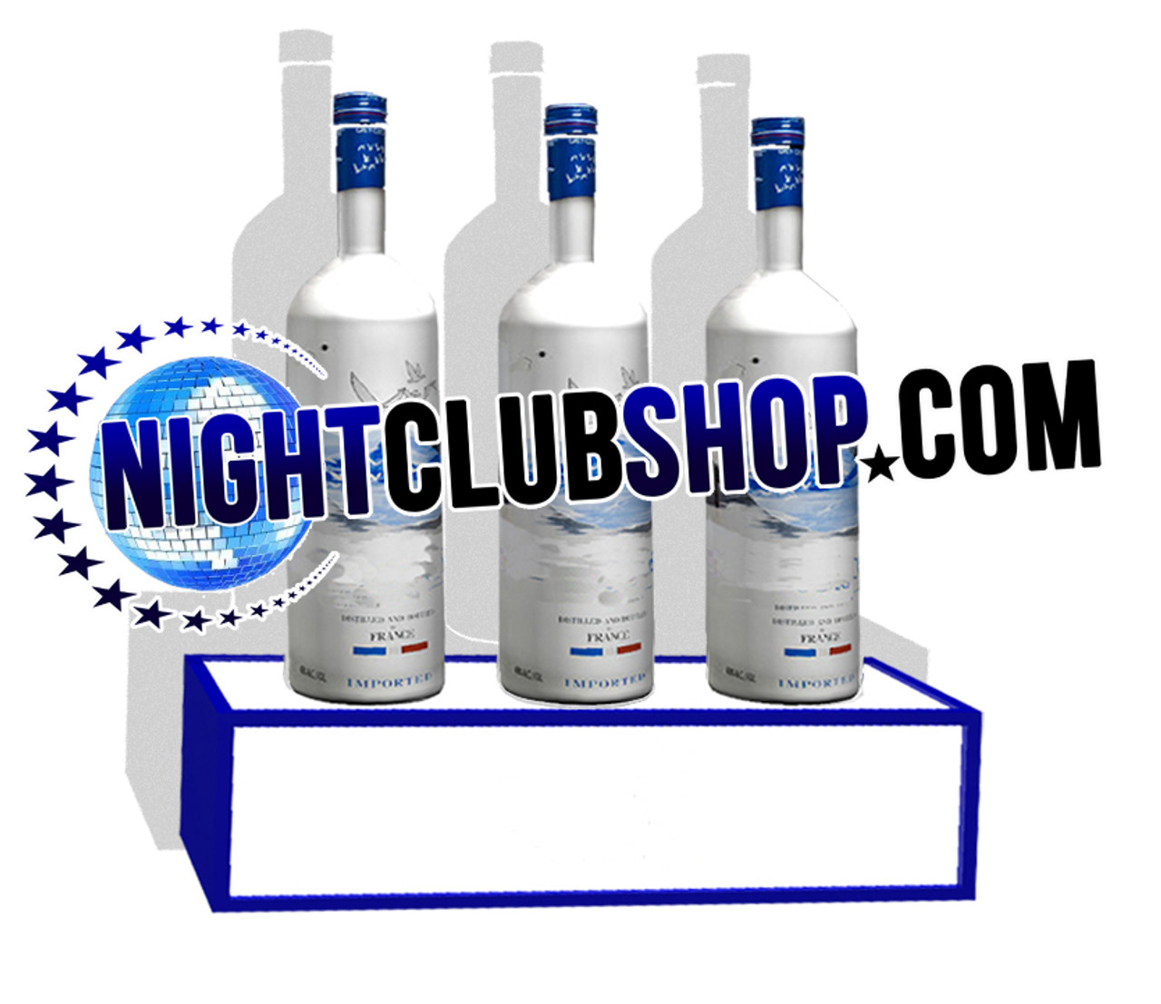 Brand, custom, personalized, Bar, stand, shelf, Liquor, Bottle, Base, engrave, etch, print, Light up, illuminated, Nightclubshop, custom shop