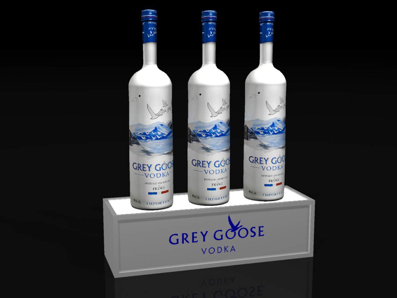 Light up, bottom, Base, Glorifier, Display, stand, shelf, liquor, bottle, bottle service, Grey Goose, Vodka, VIP, POS