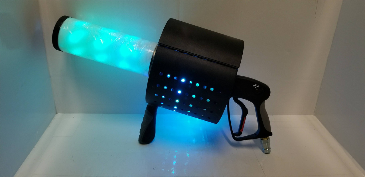 LED CO2 Cryo Confetti Gun, Hand CO2 Blaster, Confetti launcher for events and nightclub special effect.