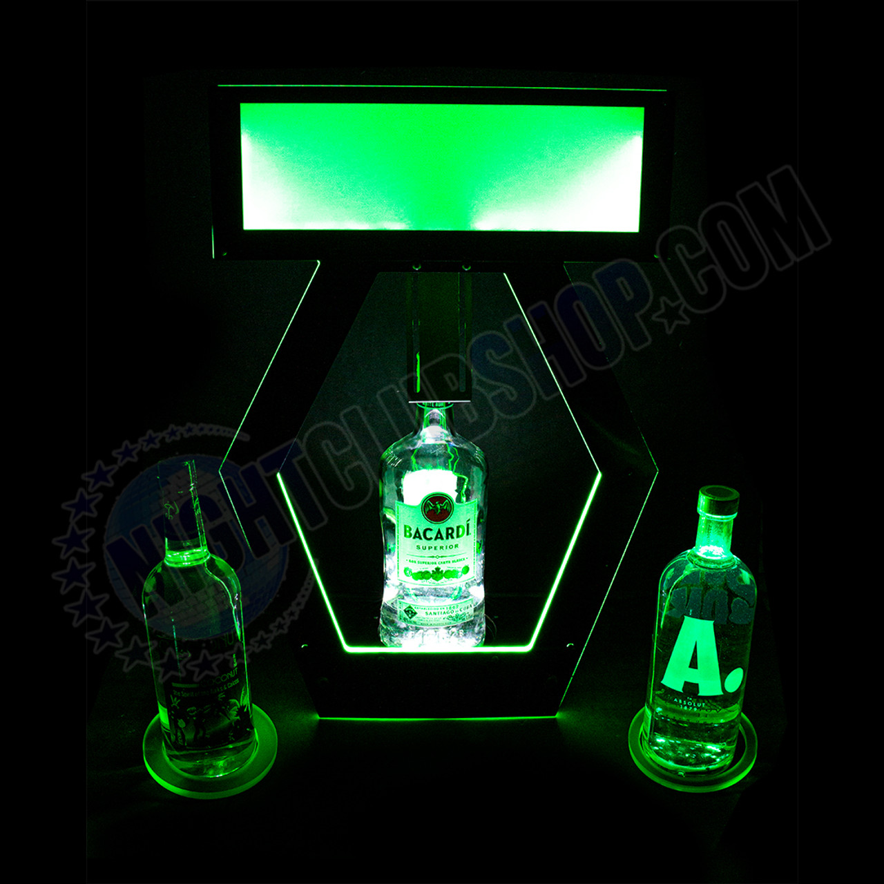 RF, LED, Remote, Controlled, DMX, RGB, Bottle, Presenter, Universal, Ring, system, glow, Bottle Presentation Table delivery, Super bright, DMXR, Branding, Customizable, Interchangeable message board