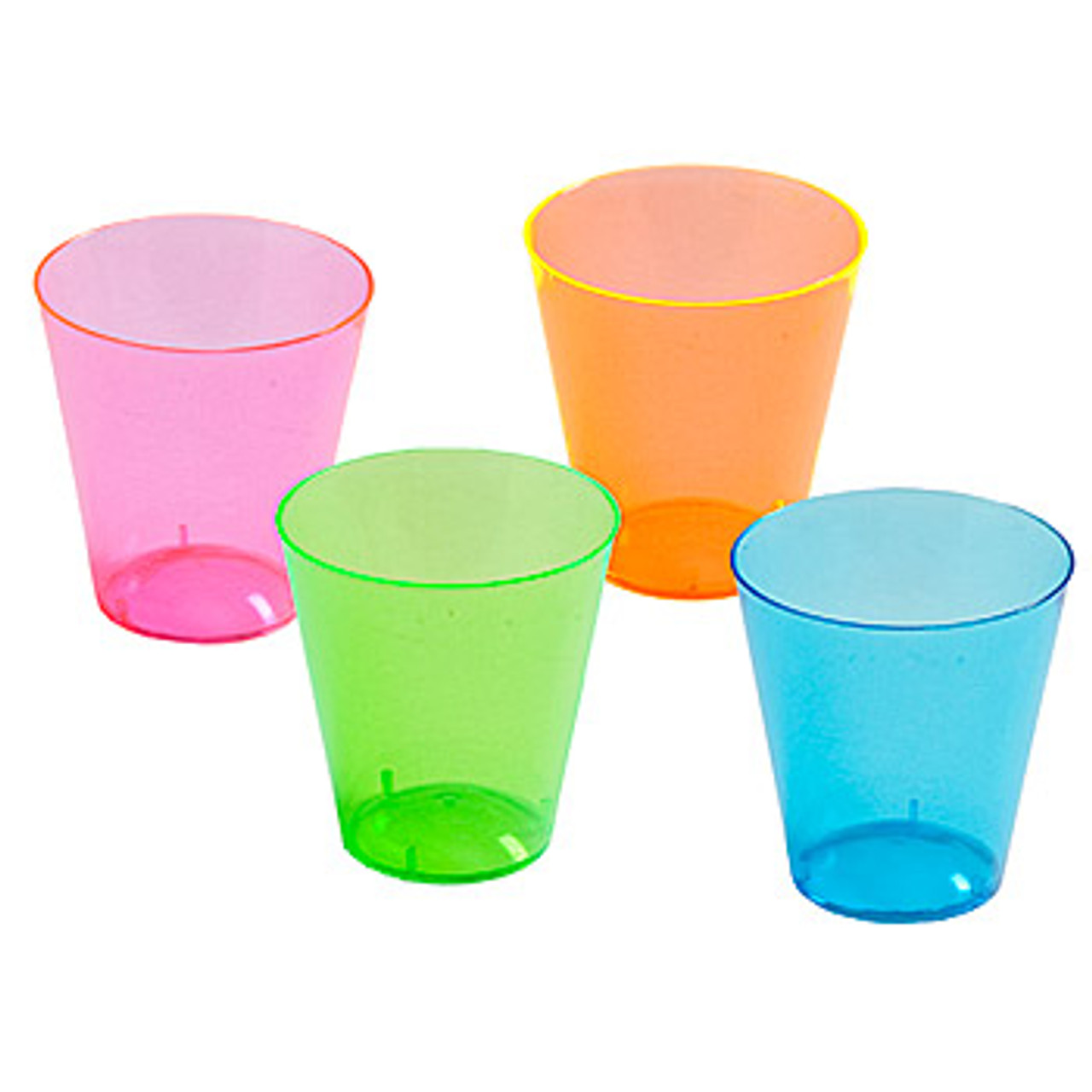 NEON SHOT GLASSES 1 OZ, PARTIES, NEON, GLOW, UV REACTIVE, SHOT GLASS, 2 OZ