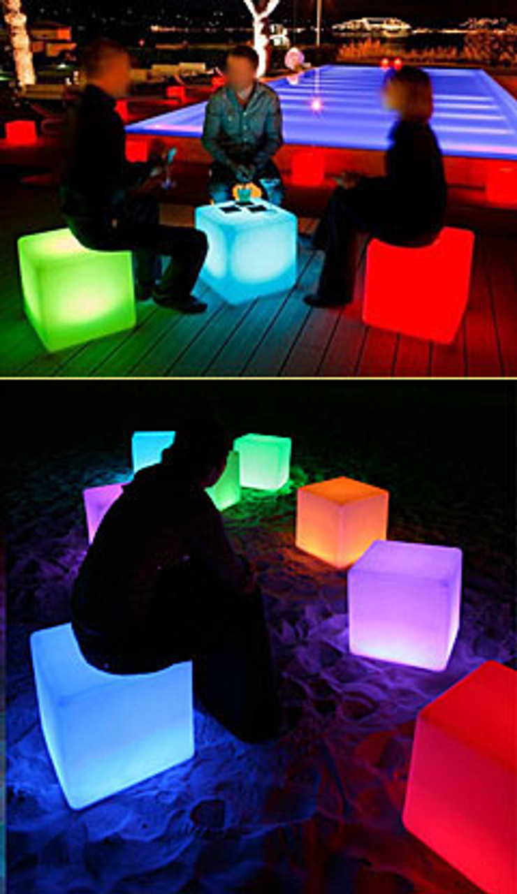 LED, cube, furniture, lights, club, rave, bar, chair, table, lounge