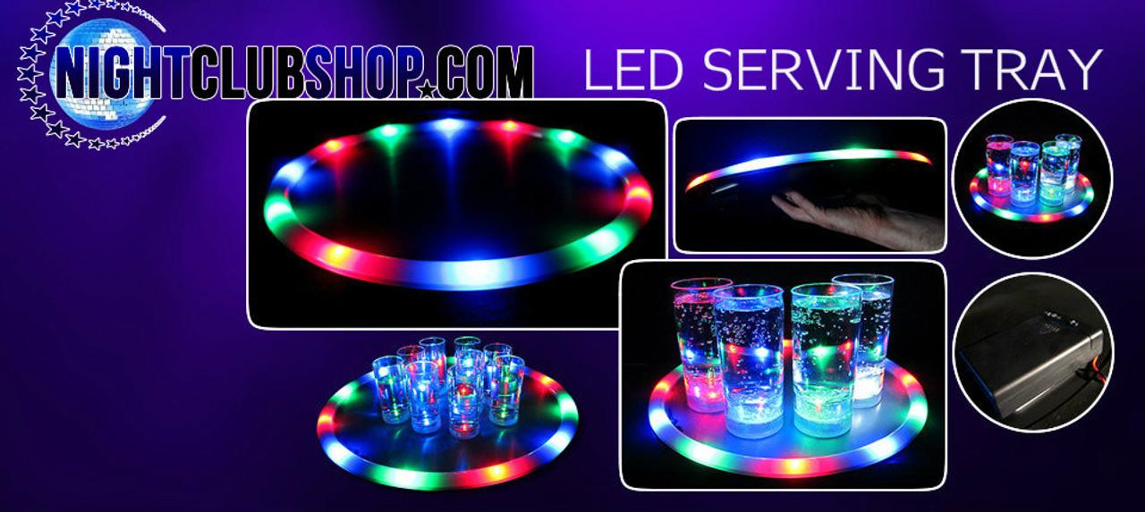 Light Up, Glow, Neon, Service, LED,  Tray, Serving , Serving tray, Bottle Service, L.E.D.