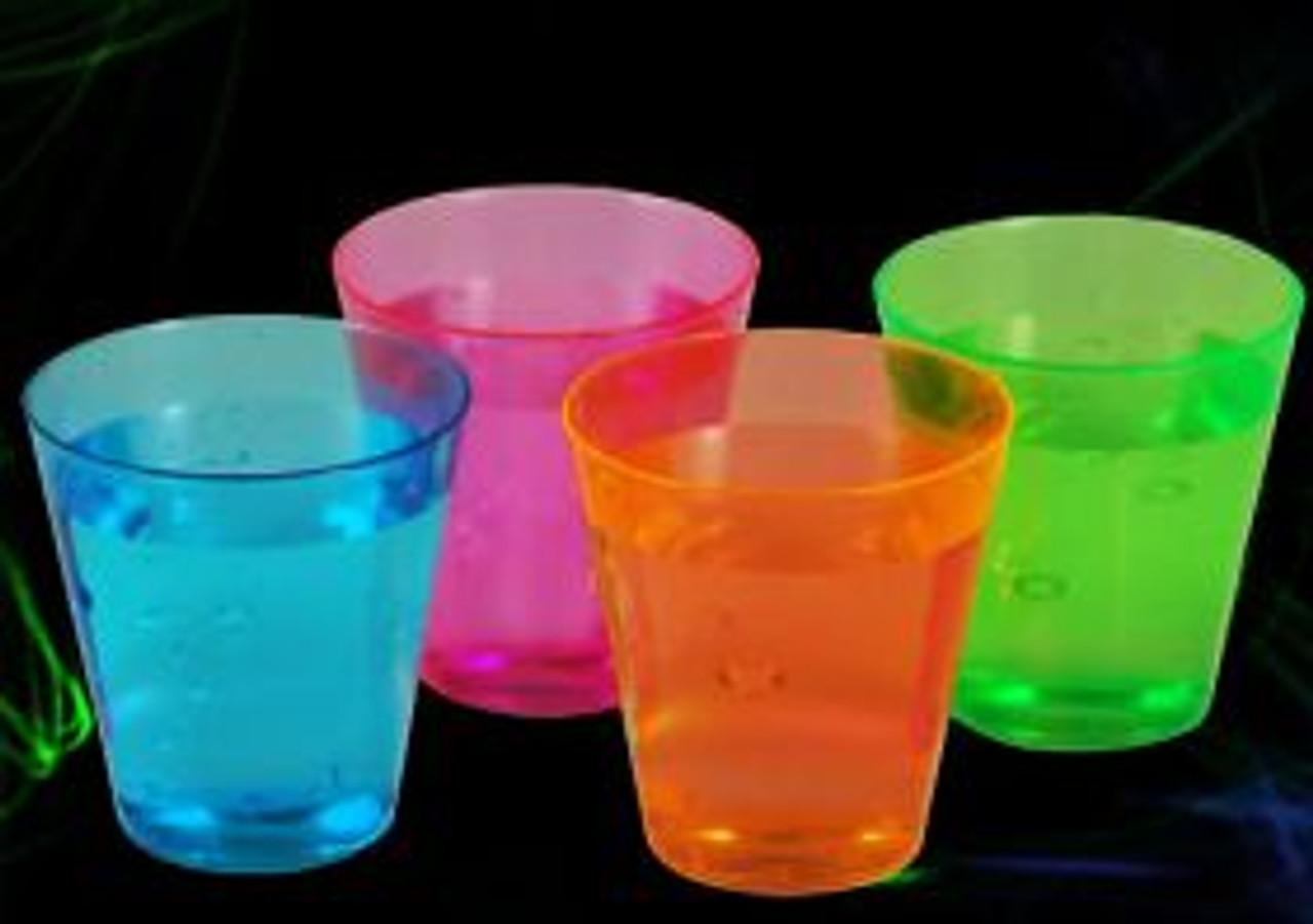 plastic, shot, glasses, cups, alcohol, liquor, bar, club, party,NEON, SHOT, GLASSES, 2 OZ, PARTIES, PARTY, NEON, GLOW, UV REACTIVE, SHOT GLASS, 2 OZ