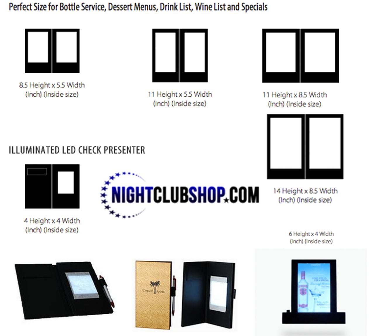 LED Glow Menu, LED, GLOW, Restaurant, VIP, Light, Menu, Billfold, check presenter,