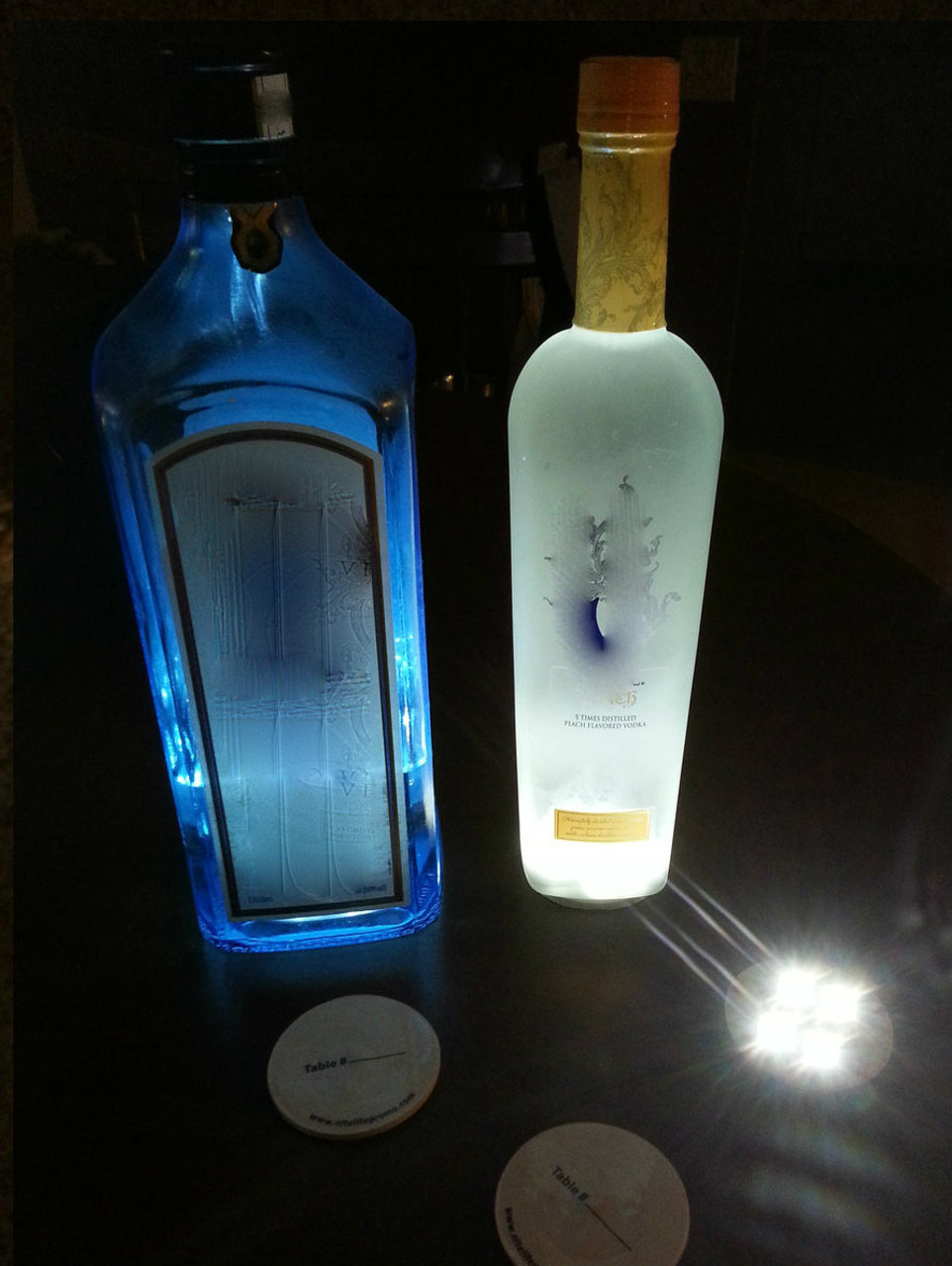Make Bottle Glow, Light up bottle, glow liquor bottle, bottle, light, under, sticker, punt light, punt, glorifier, bottleglow,Belvedere