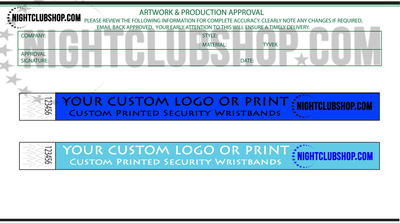 custom, Printed, Tyvek, Personalized, wristbands, VIP, Door, entry, Nightclub, Club, proofs, template