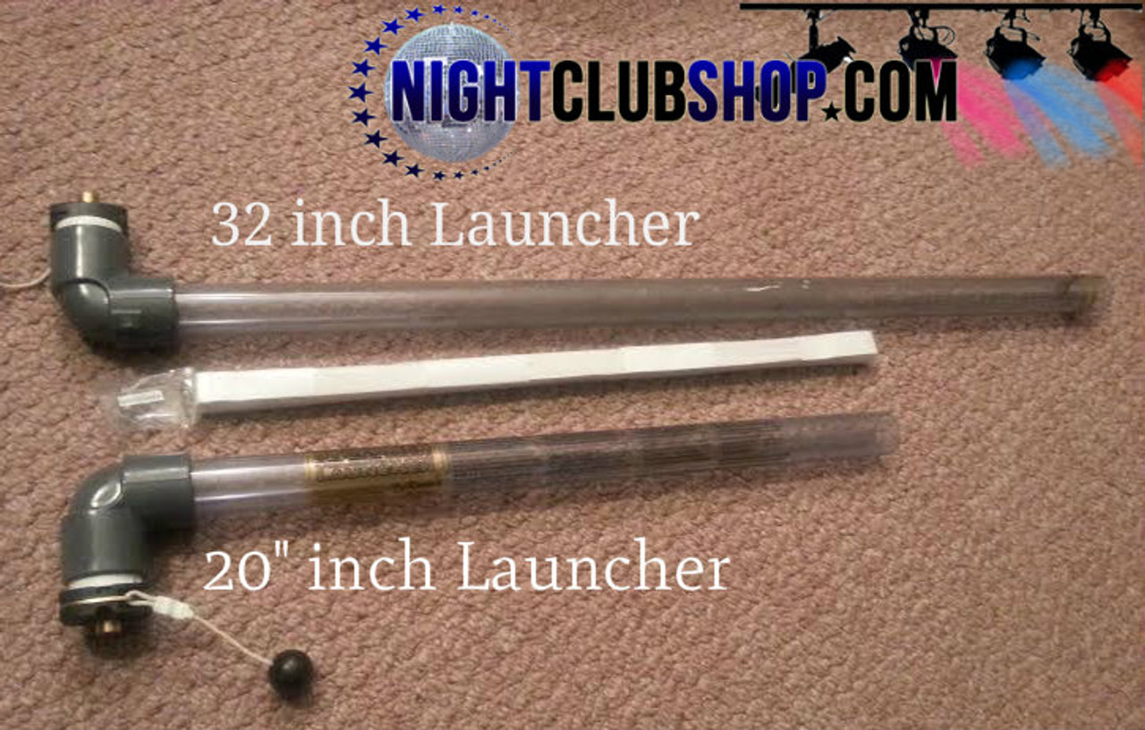 32 inch, 20 inch, comparison, launcher,confetti, flo-fetti, slow fall, streamer, SEI