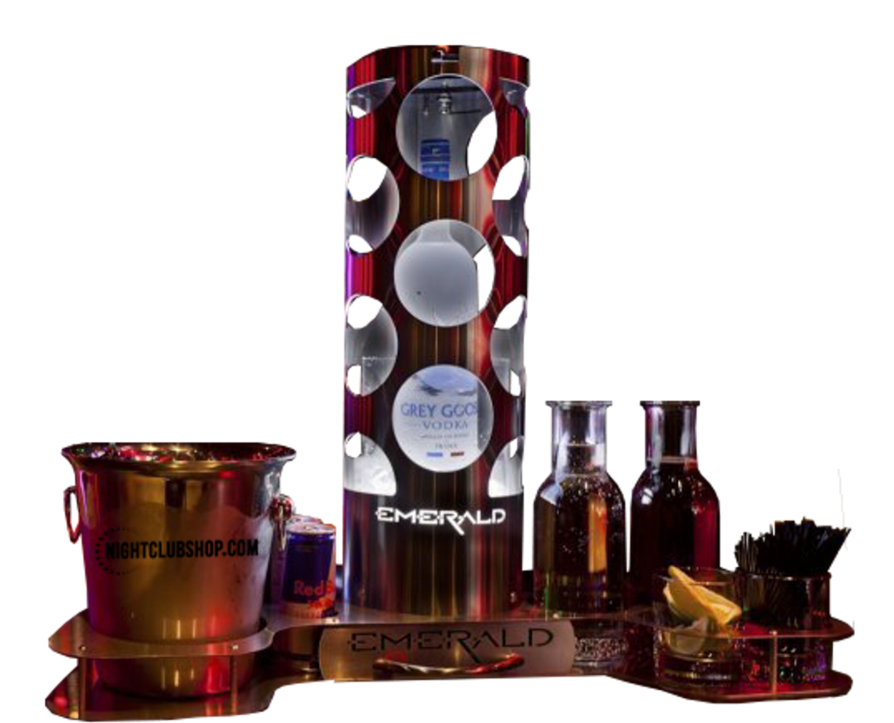 Bottle service delivery, Tray, Liquor, Delivery, High-End, VIP, carafes, Ice Bucket, LED
