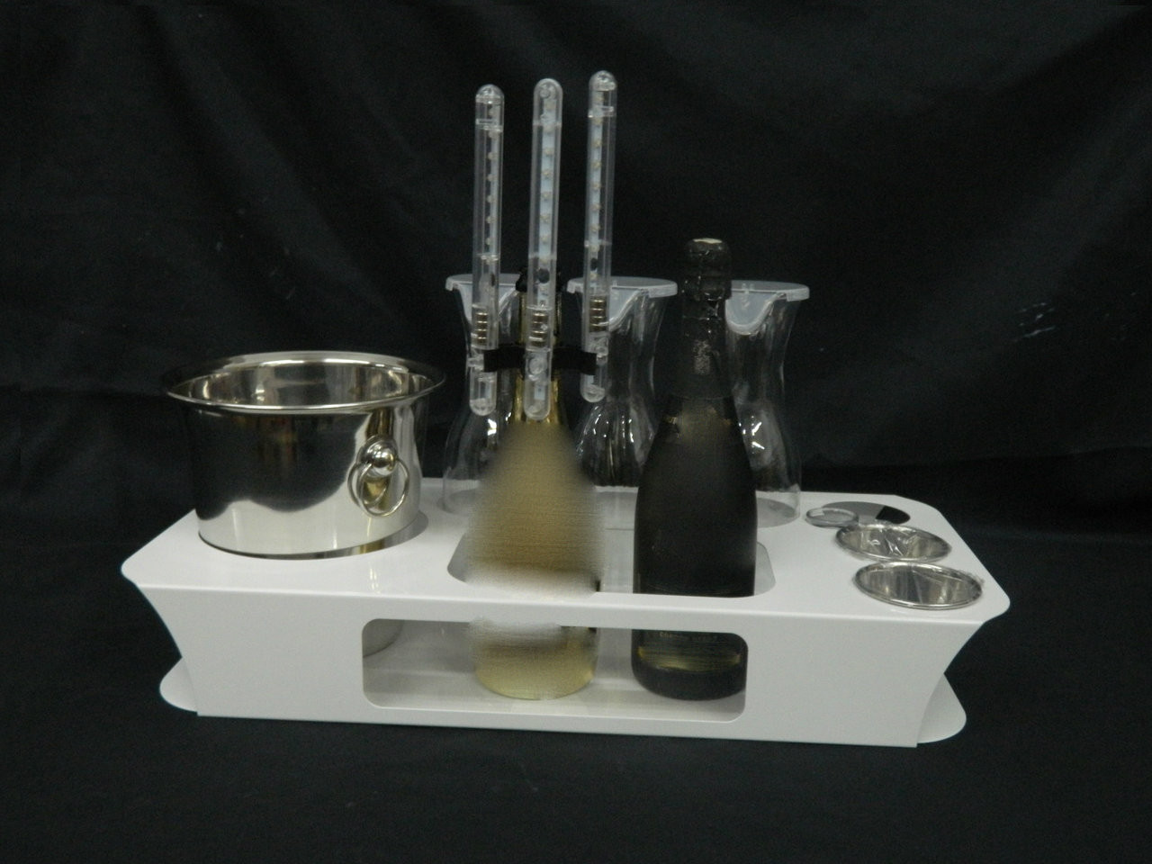 Bottle Tray, electronic sparkler, led, clip,alternative, bottle sparkler, Service tray, Champagne