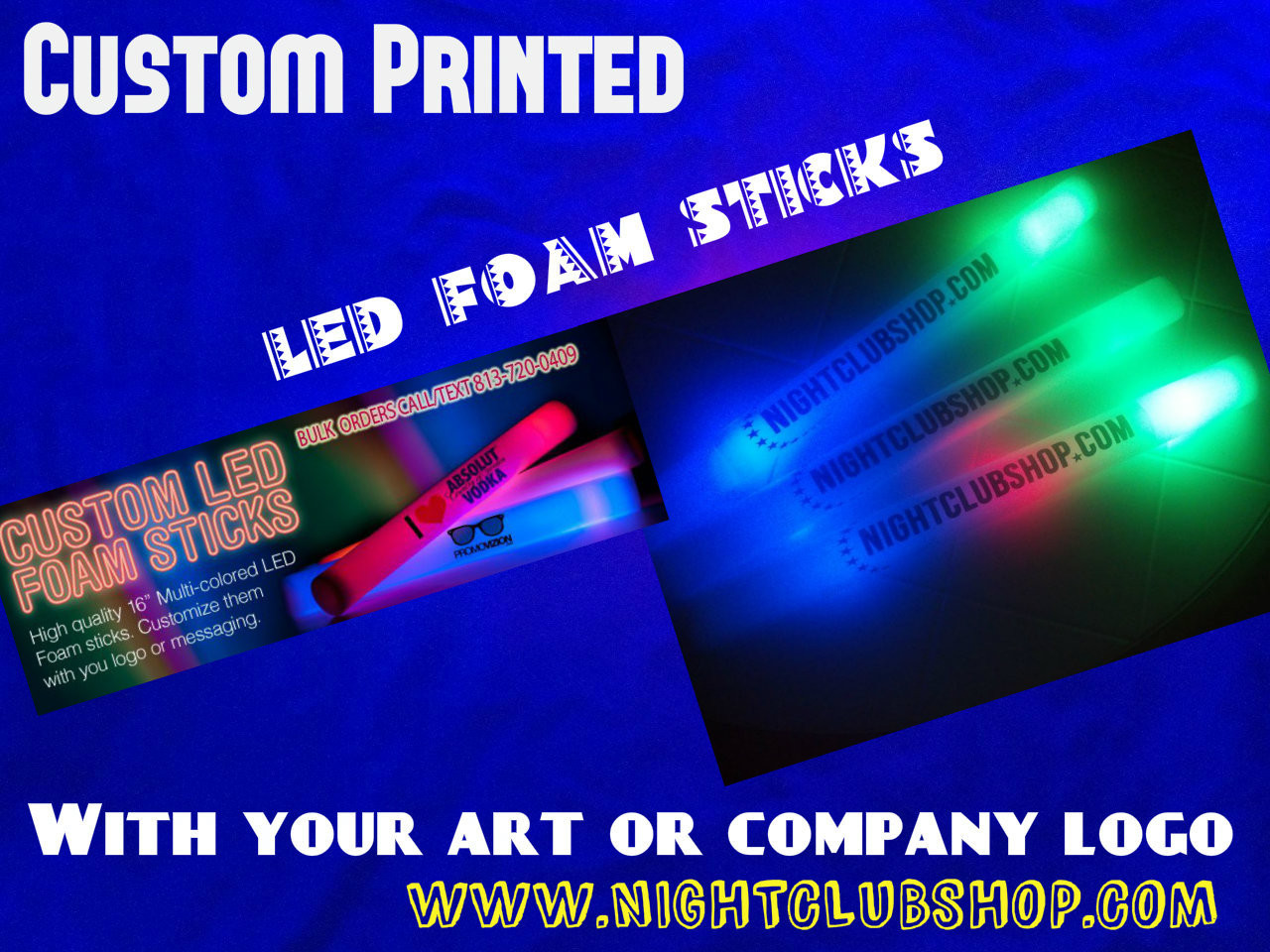 WEDDING HIGH QUALITY LED FOAM STICKS 16 INCH CUSTOM (3 PACKS)