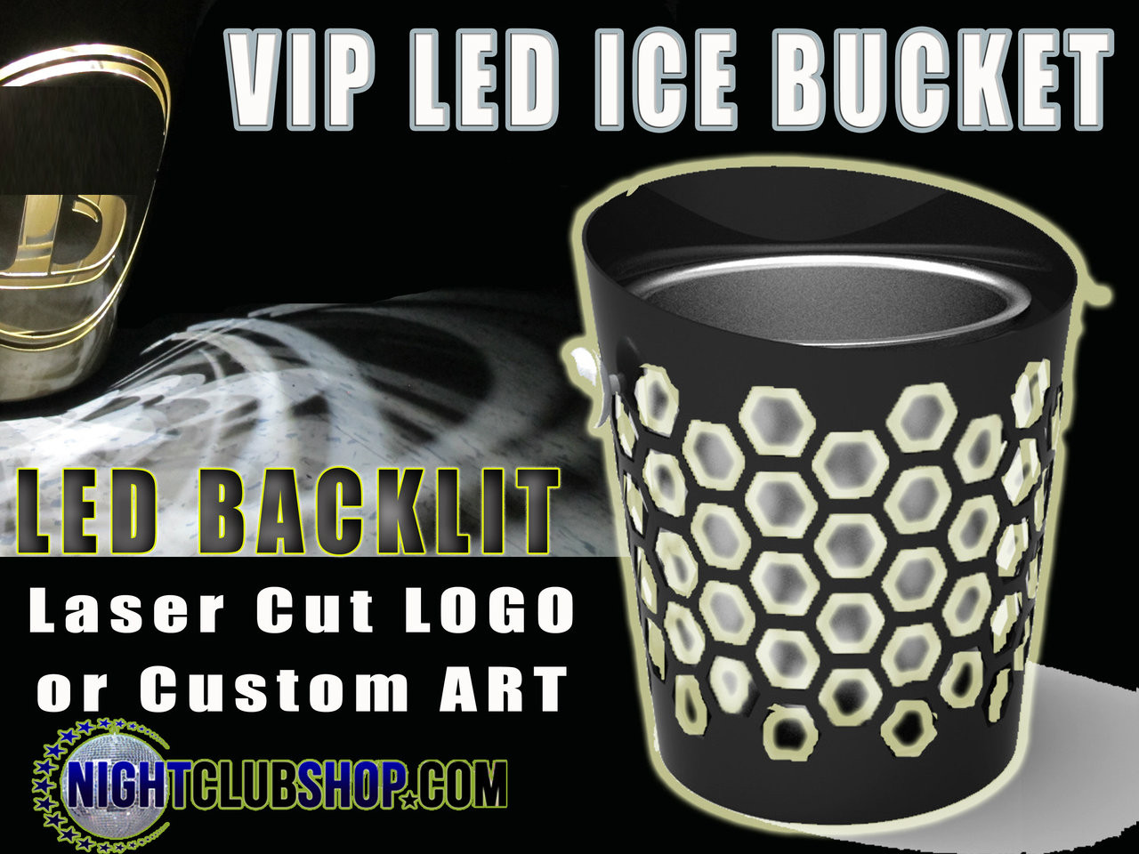VIP, LED, ICE, BUCKET, CUSTOM, BRANDED, CUT, LOGO, CHAMPAGNE