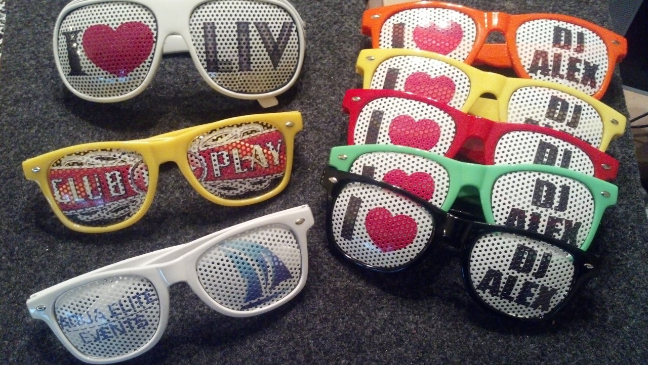 Night,Night Club,NightClub,Shop,wedding,special event,DJ,VJ,Promote,customized,PromoVizion, Customizable, Personalized, Sunglasses, Lenses , Wayfare Lenses, Promo Lenses, Logo Lenses, Custom Lenses, Promo Glasses, Promo Vizion, Logolenses, Crystal Customs, iGlazzis, Personalized Glasses, Logo, Your text, 20 Pack, Bulk, DJALEX PROMO CODE, Nightclub Glasses, Glow in the dark, U.V. Reactive, GLOW