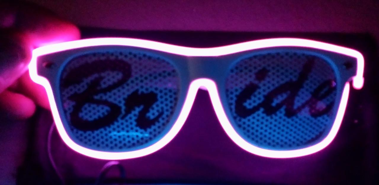 Bride, Glow, Sun Glasses, Glasses, custom, Light up, shades, neon,