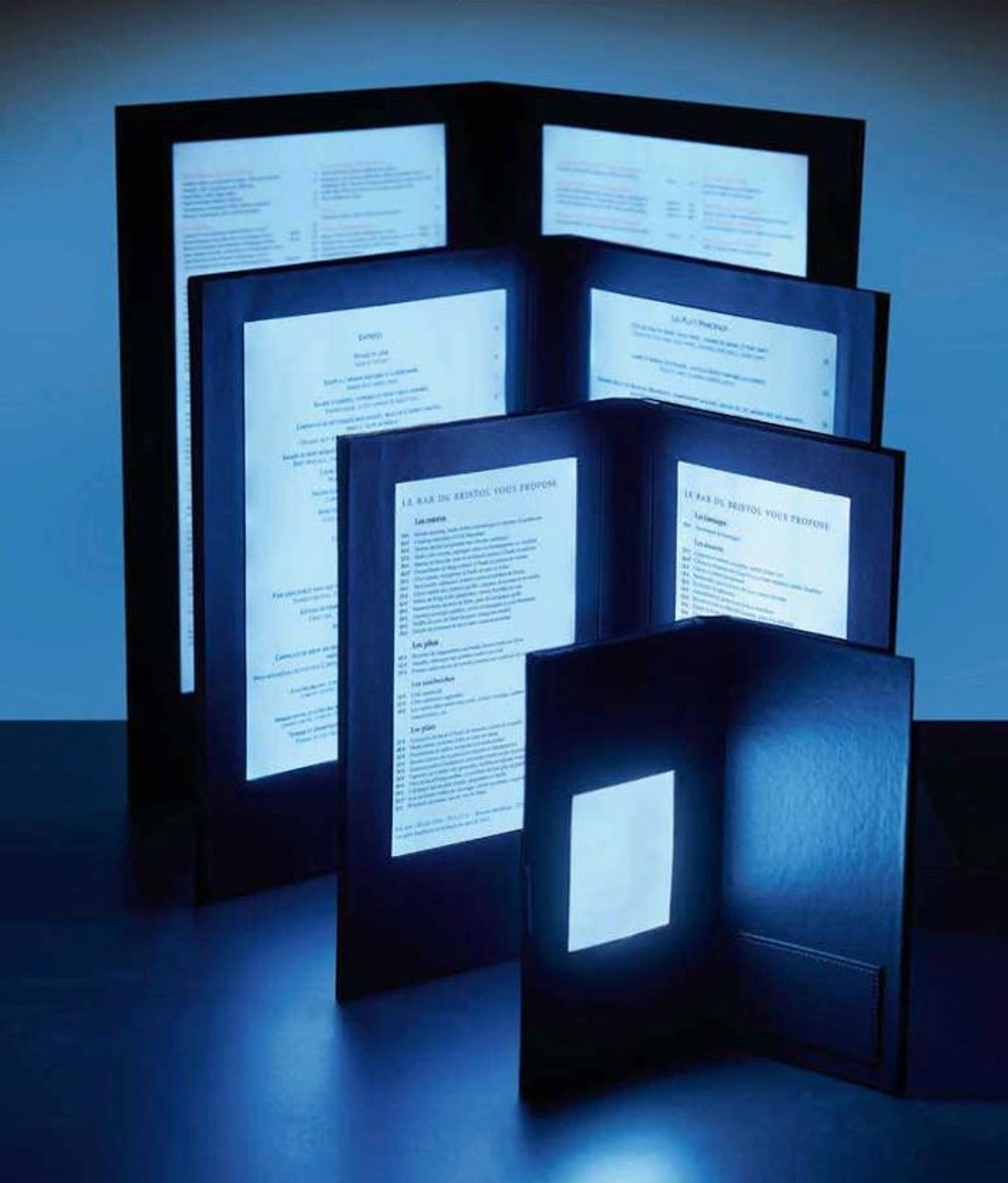 LED, Light up, illuminated, menu, check presenter, restaurant, order, wine list